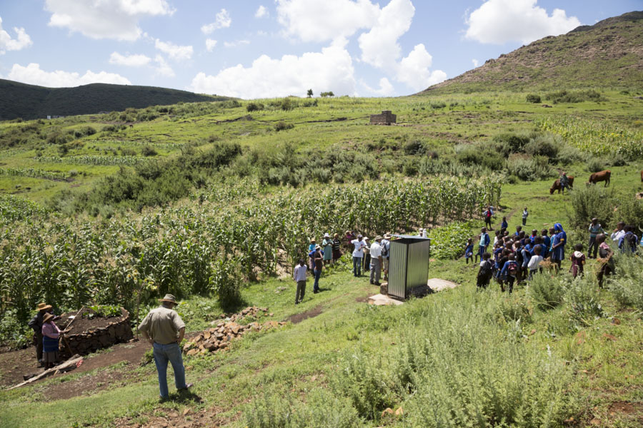 Growing Nations Farming Quest participants hearing farmer stories first hand at Mpharane, Lesotho