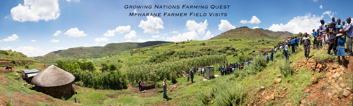 Farming Quest visit to Growing Nations trained CA farmers, Mpharane, Lesotho.